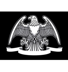 eagle heraldry with blank ribbon vector image vector image