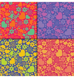 Set of four skulls and hearts seamless pattern vector image vector image