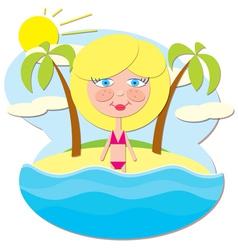 Girl at Sea vector image vector image