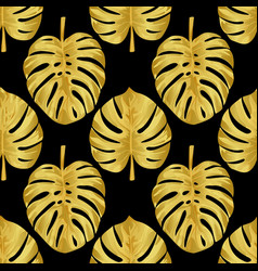gold monstera seamless pattern vector image vector image