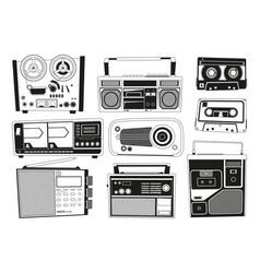 monochrome pictures set of various vintage audio vector image