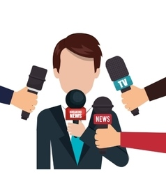 Character microphone interview graphic vector