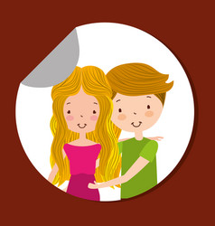 cute couple pregnant happy characters in sticker vector image