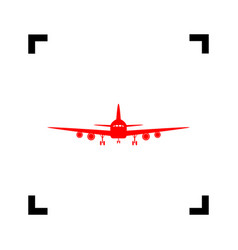 flying plane sign front view red icon vector image vector image