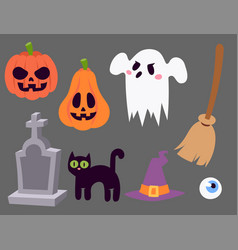halloween carnival symbols icons vector image vector image