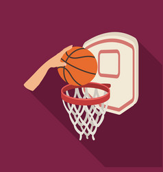 hand with a ball near the basketbasketball single vector image