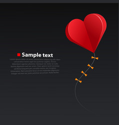 heart kite on dark background vector image vector image
