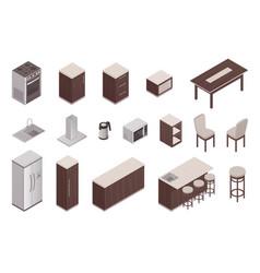 isometric elements of kitchen interior vector image
