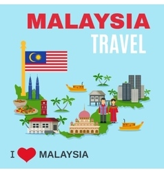 Malaysia Culture Travel Agency Flat Poster vector image vector image