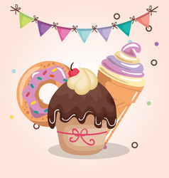 sweet and delicious cupcake with donut and ice vector image