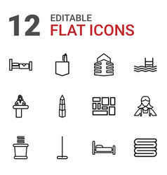 12 hotel icons vector
