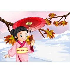 A japanese wearing her yukata vector