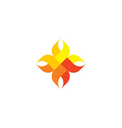 abstract fire flame icon geometric logo design vector image