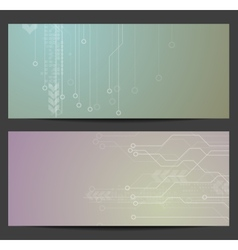 Abstract tech circuit board banners vector image