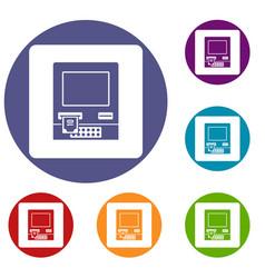 Atm bank cash machine icons set vector