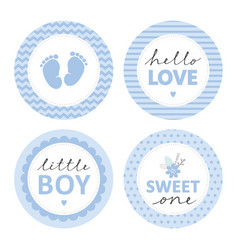 baby shower blue tag set vector image
