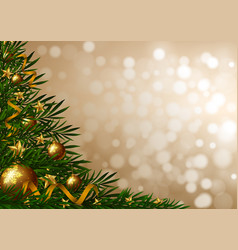 background template with christmas tree and vector image