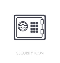 bank safe outline icon security sign vector image