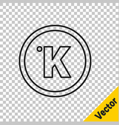 black line kelvin icon isolated on transparent vector image