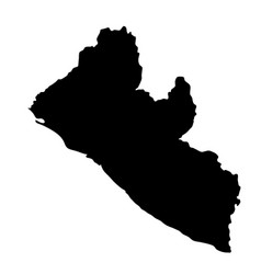 black silhouette country borders map of liberia vector image