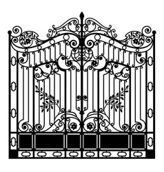 Black wrought iron gate vector