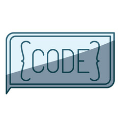 Blue shading silhouette of rectangle text code vector