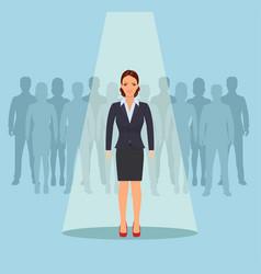 businesswoman standing in spotlight vector image