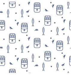 canned sprats line icon seamless pattern vector image