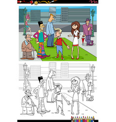Cartoon people group in city coloring book vector