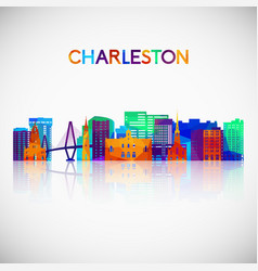charleston skyline silhouette in colorful vector image