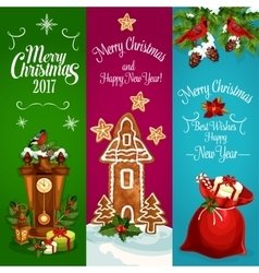 Christmas New Year banners set vector