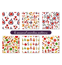 Collection 6 autumn fall seamless patterns vector