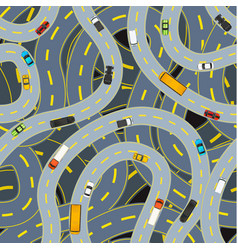 complicated highway roads with different cars top vector image