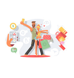 couple taking selfie with shopping bags vector image