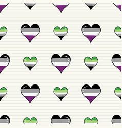 cute asexual aromantic heart cartoon seamless vector image
