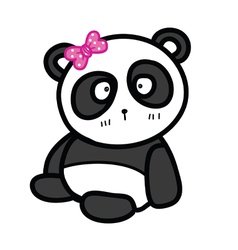 cute sitting panda with bow vector image