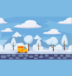 Delivery winter landscape trees in the snow vector