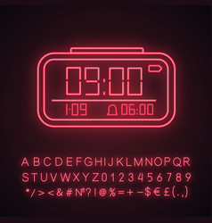 Digital alarm clock neon light icon vector
