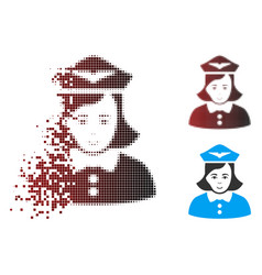 Dissipated pixel halftone airline stewardess icon vector