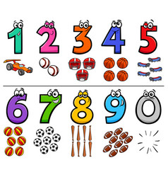 Educational cartoon numbers set with sport objects vector