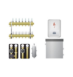 Electric boiler set vector