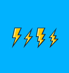 electric lightning set icons on a blue vector image