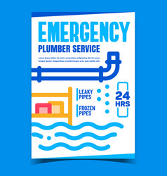 Emergency plumber service promo banner vector