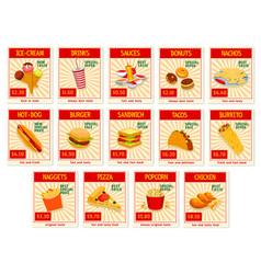 fast food restaurant menu price cards vector image