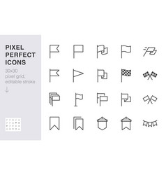 Flag line icon set checkered flags location vector