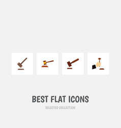 Flat icon hammer set of justice hammer law and vector