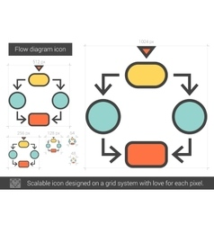 Flow diagram line icon vector image