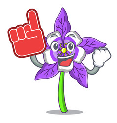 Foam finger columbine flower mascot cartoon vector