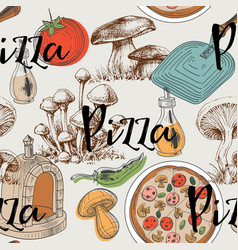 food seamless pattern pizza and mushrooms design vector image