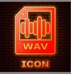 Glowing neon wav file document download wav vector